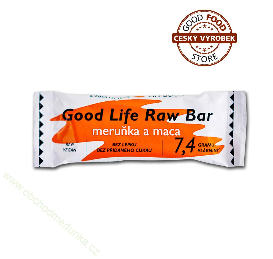Raw tyčinka Good Life Raw Bar meruňka a maca 50 g